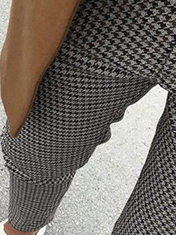 Houndstooth Pencil Pants Print Casual Four Seasons Casual Pants