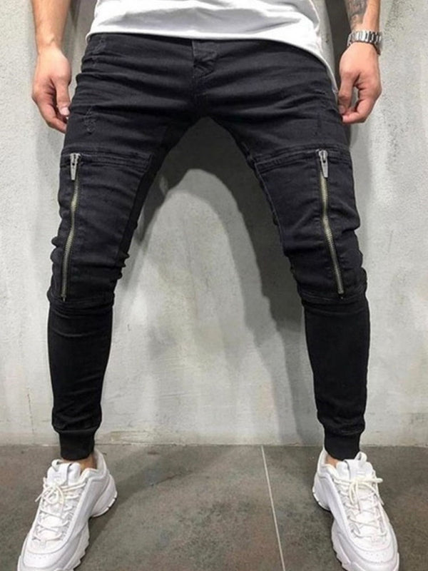 Plain Zipper Pencil Pants Casual Mid Waist Jeans
