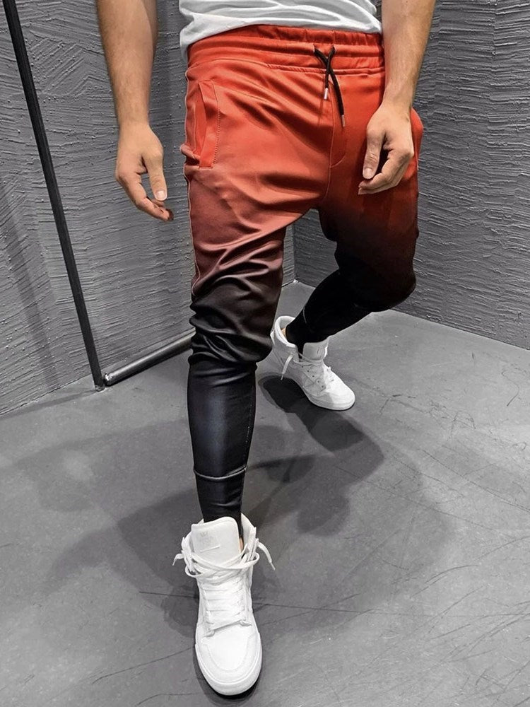 Lace-Up Color Block Pencil Pants Lace-Up Four Seasons Casual Pants