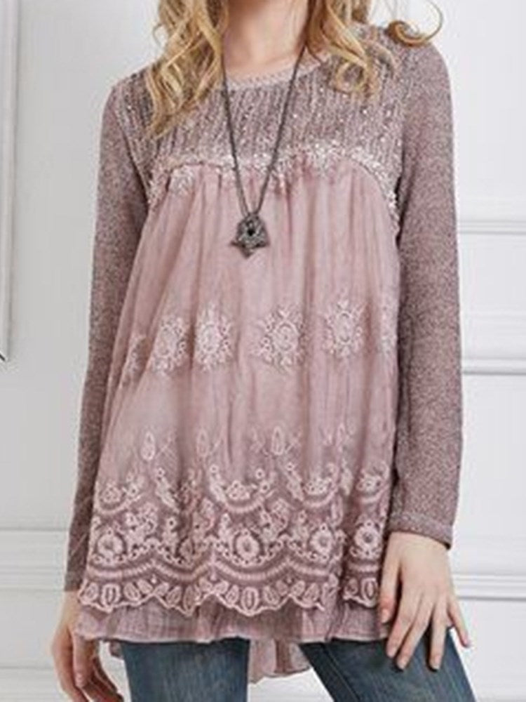 Round Neck Regular Embroidery Mid-Length Long Sleeve Blouse