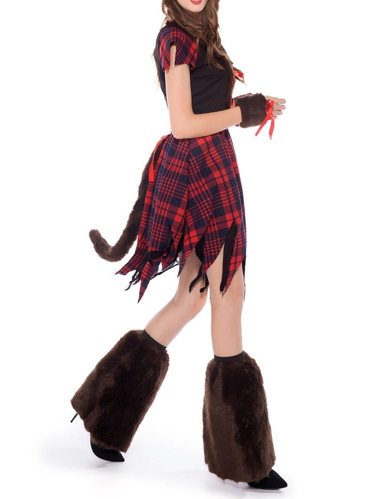 Plaid Short Sleeve Western Fall Classic Halloween Costumes