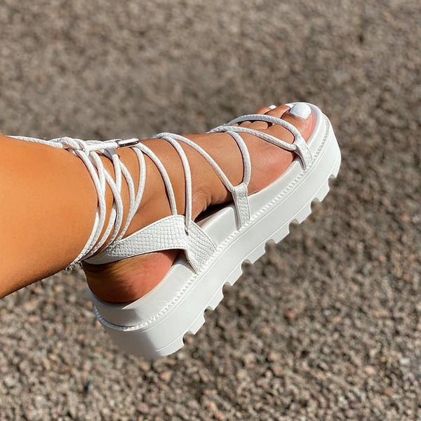 Strappy Lace-Up Open Toe Lace-Up Casual Sandals