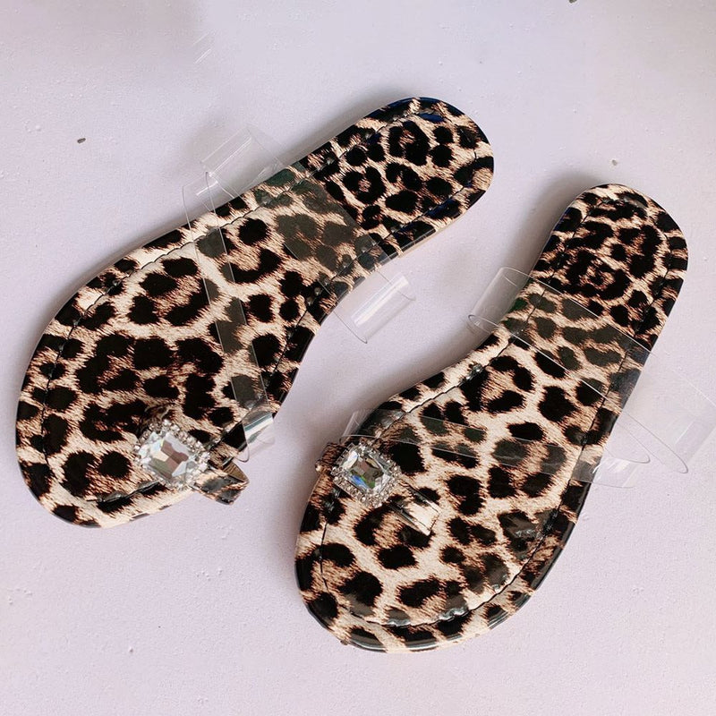 Flat With Hollow Toe Ring Slip-On Western Leopard Slippers