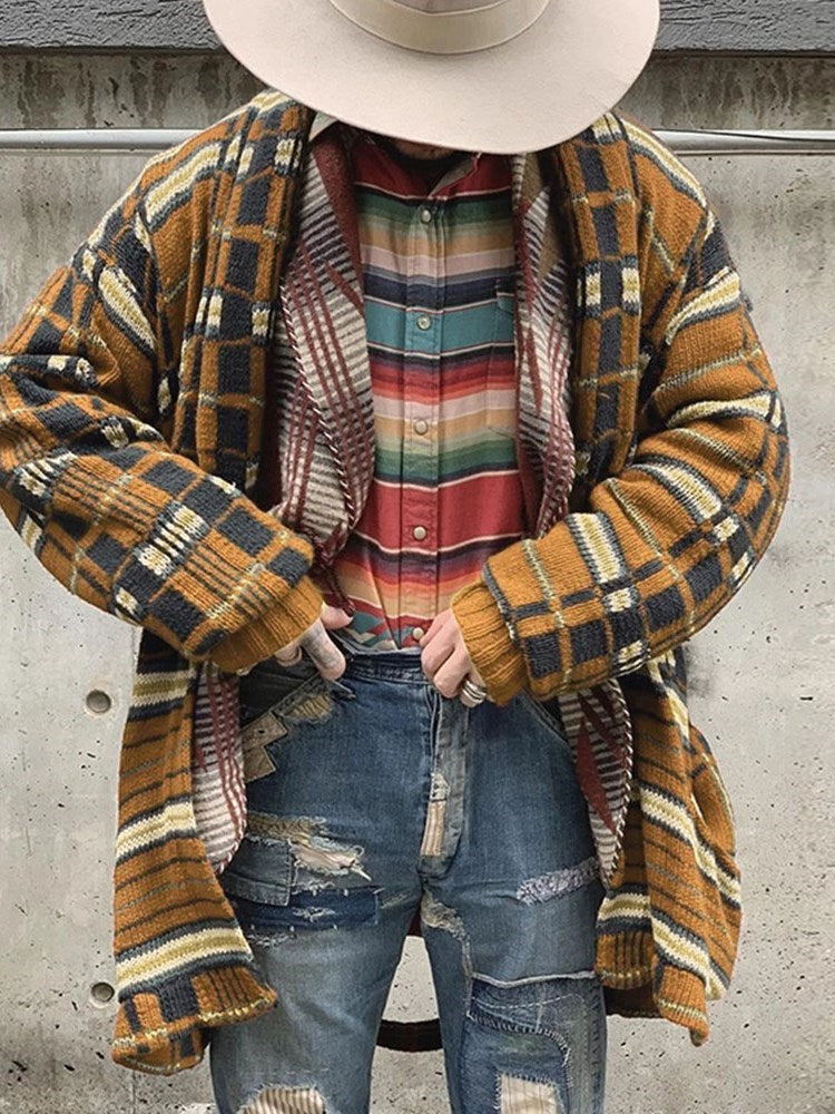 Mid-Length Color Block Loose Fall Sweater