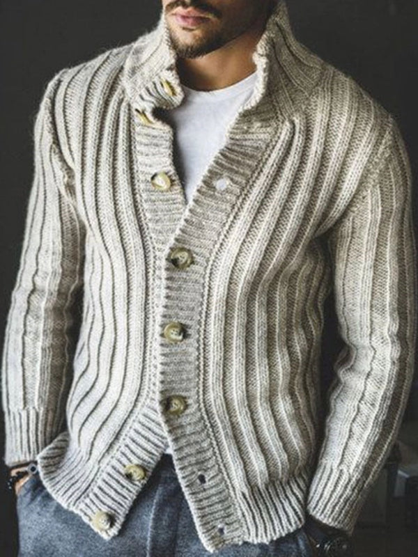 Standard Button Plain Slim Single-Breasted Sweater