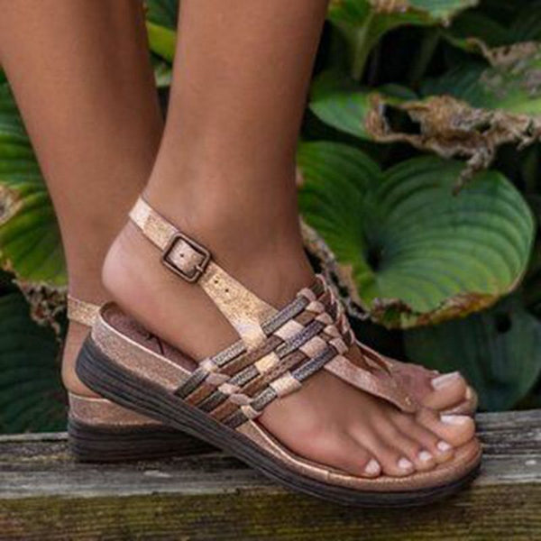 Buckle Thong Wedge Heel Woven Low-Cut Upper Sandals