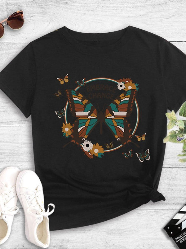 Short Sleeve Standard Floral Fashion Loose T-Shirt