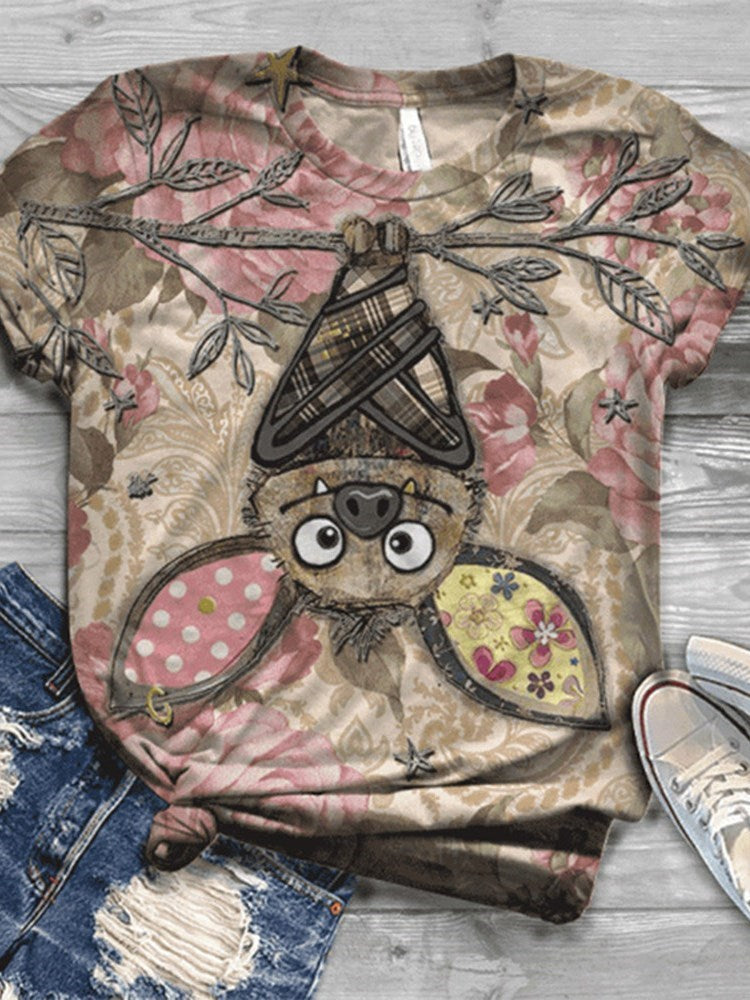 Round Neck Short Sleeve Animal Casual Loose T-Shirt
