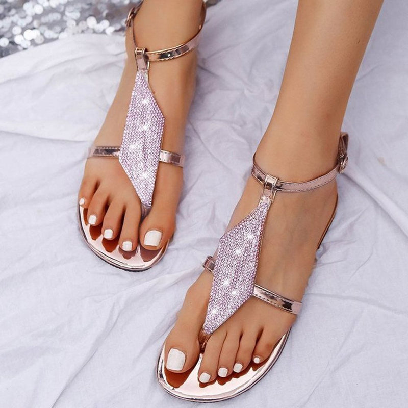 Thong Flat With Buckle Leopard Buckle Sandals
