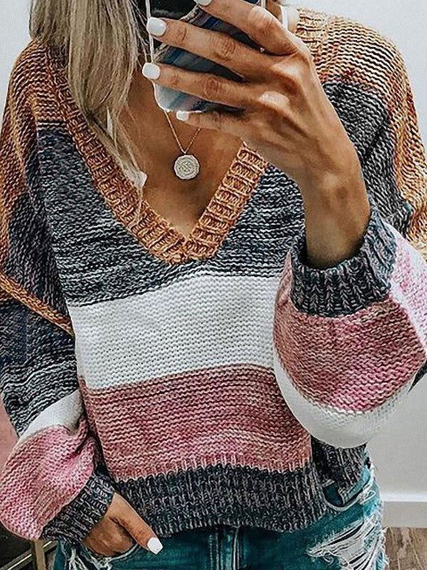 Patchwork Thin Regular Long Sleeve V-Neck Sweater