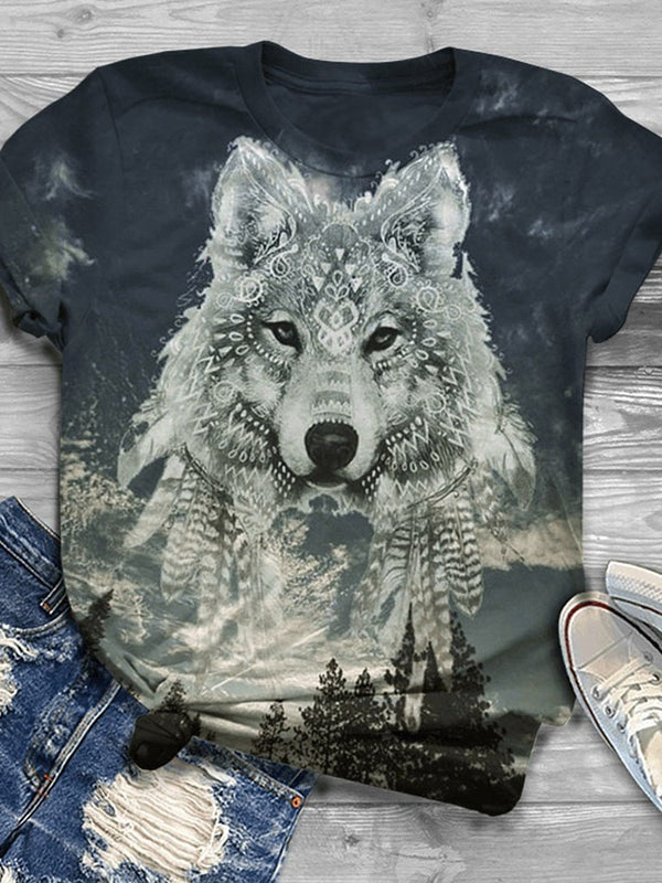 Short Sleeve Round Neck Animal Casual Summer T-Shirt