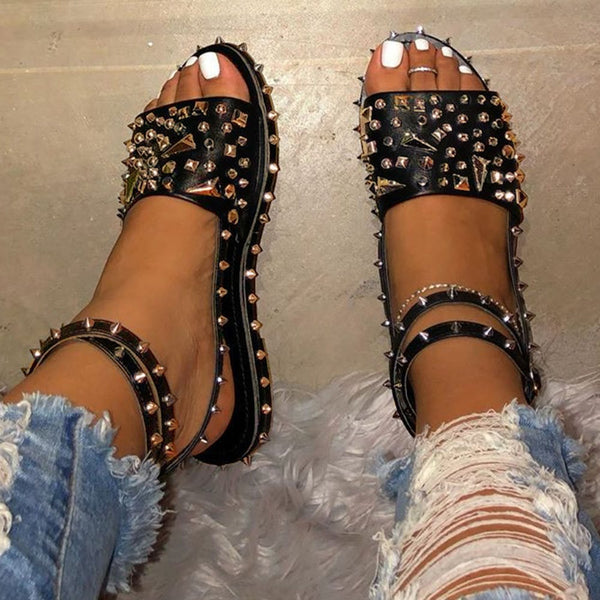 Platform Open Toe Line-Style Buckle Rivet Sandals