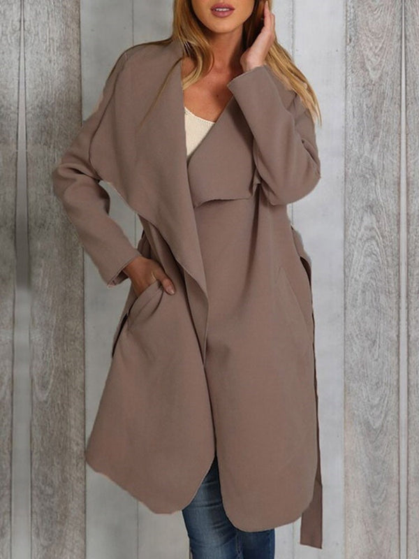Lapel Long Wrapped Regular Straight Trench Coat