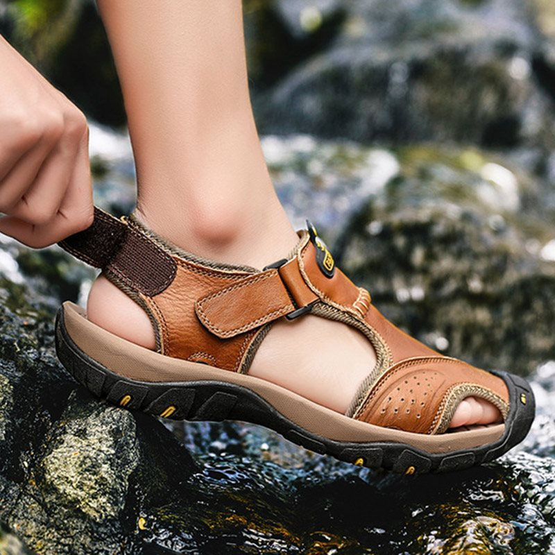 Low-Cut Upper Flat Heel Velcro Round Toe Hollow Sandals