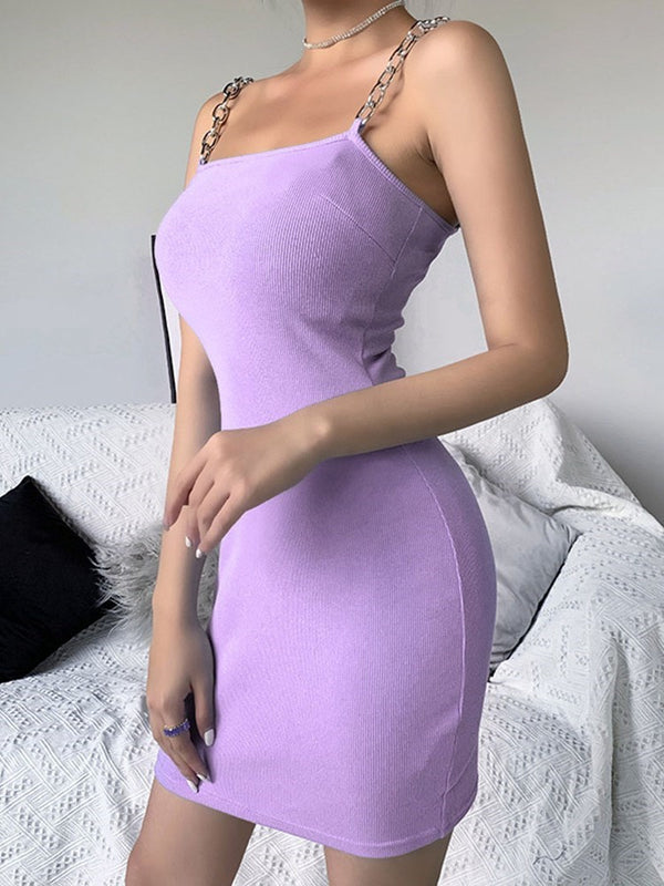 Patchwork Sleeveless Above Knee Bodycon Plain Dress