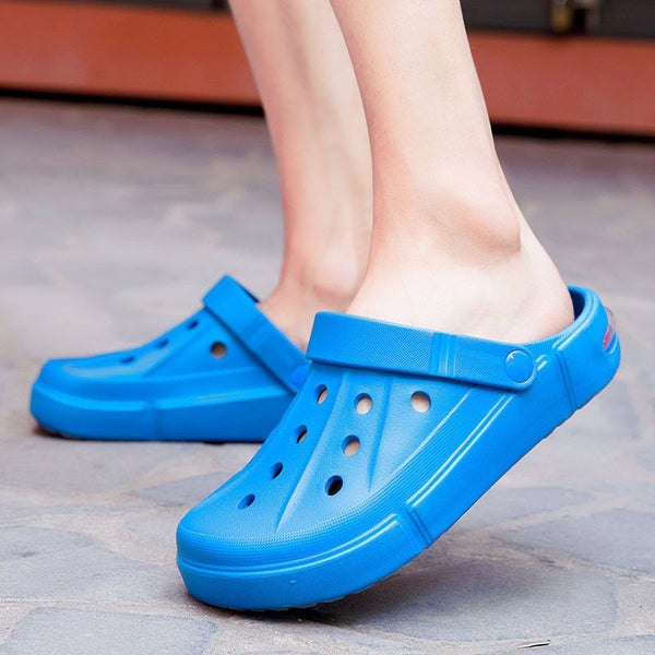Flat Heel Plain Slip-On Low-Cut Upper Round Toe Hollow Sandals