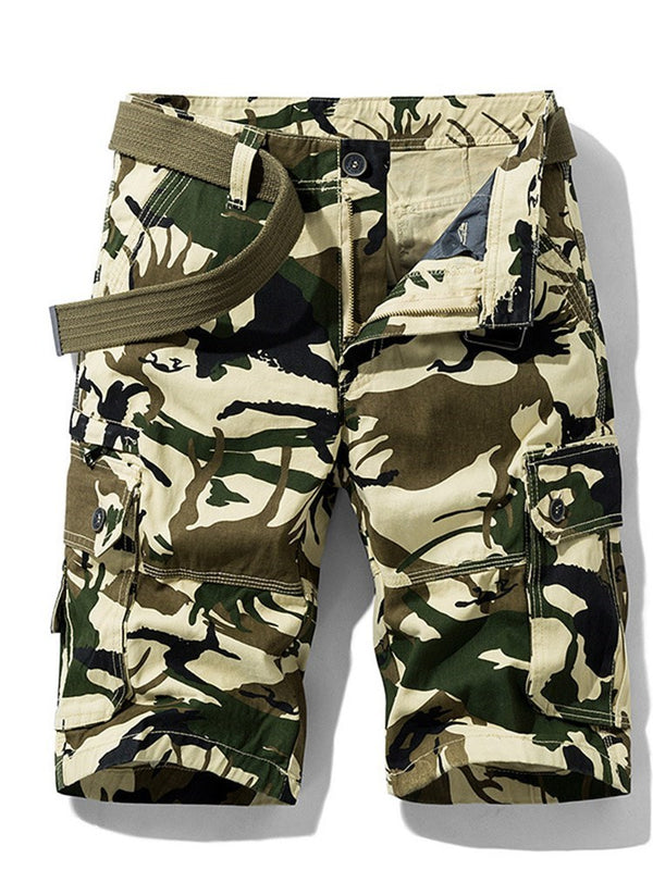 Camouflage Straight Print Casual Mid Waist Shorts