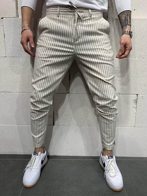 Pencil Pants Stripe Mid Waist Casual Casual Pants