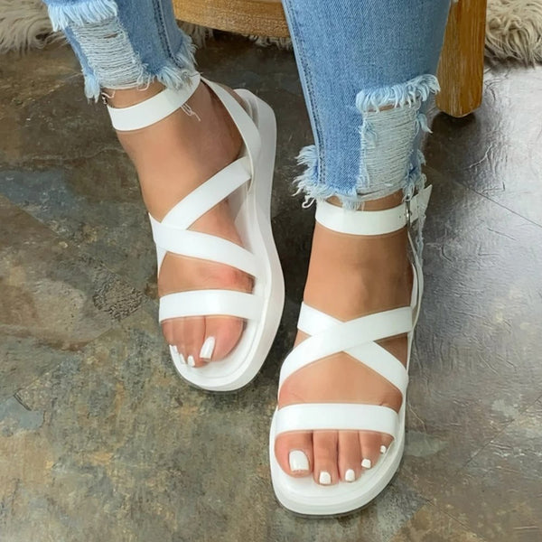 Flat With Open Toe Buckle Plain Platform Sandals