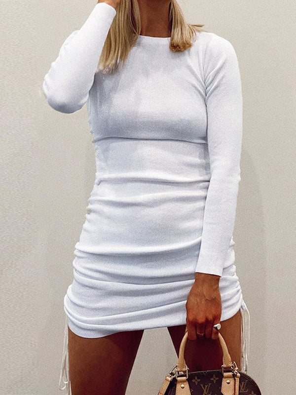 Lace-Up Long Sleeve Above Knee Bodycon Plain Dress