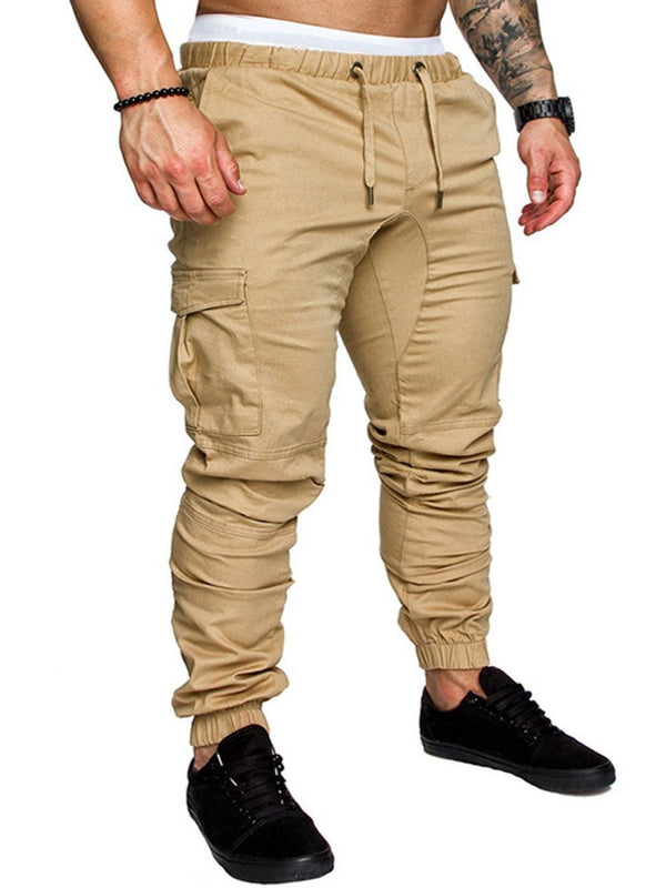 Pocket Pencil Pants Plain Casual Mid Waist Casual Pants