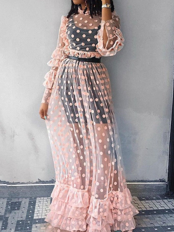 See-Through Floor-Length Long Sleeve Pullover Summer Dress