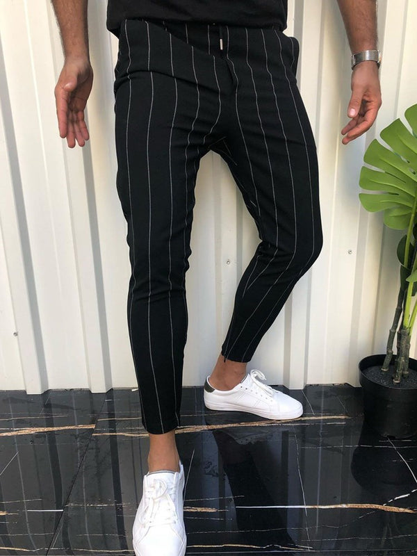 Stripe Pencil Pants Lace-Up Casual Casual Pants