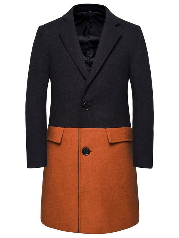 Lapel Color Block Button Fall Fashion Coat