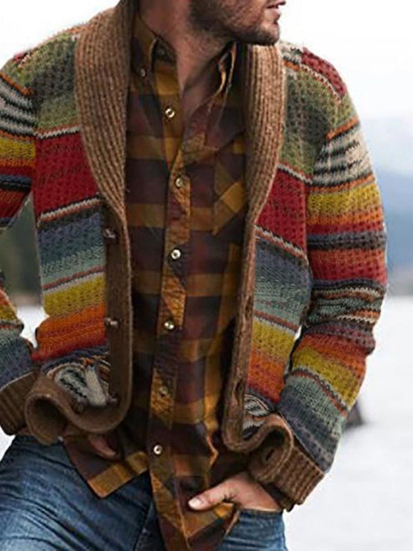 Standard Button Color Block Single-Breasted Casual Sweater