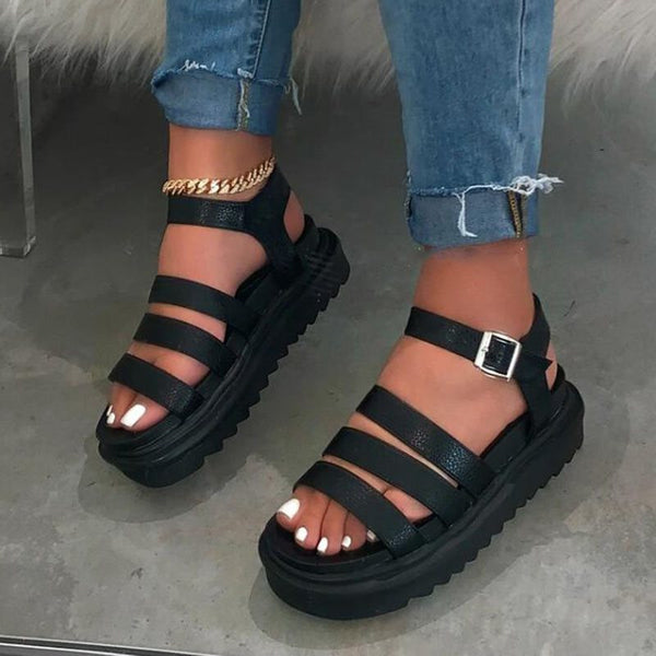 Buckle Open Toe Casual Thread Sandals
