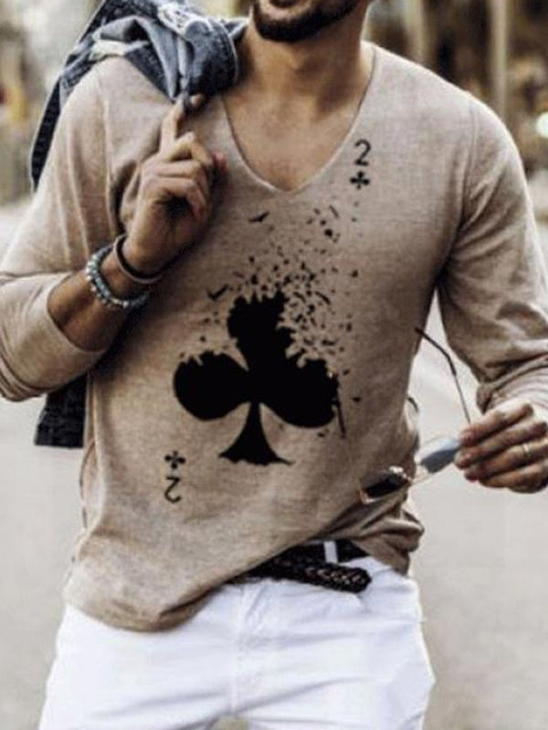 Round Neck Print Casual Long Sleeve Loose T-shirt
