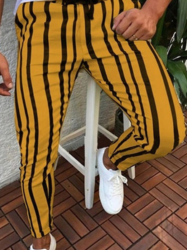 Pencil Pants Print Stripe Lace-Up European Casual Pants