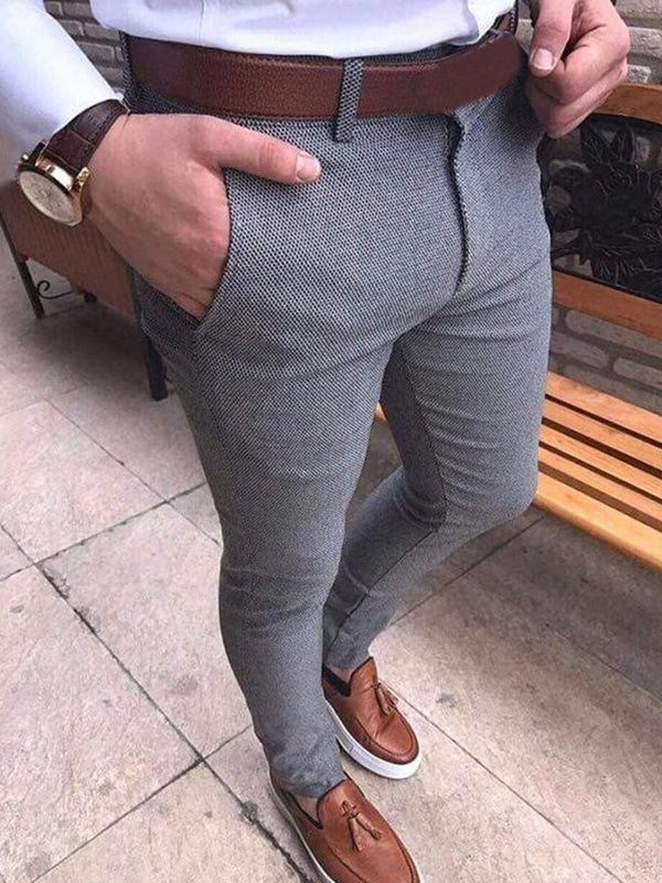 Plain Pocket Casual Zipper Casual Pants
