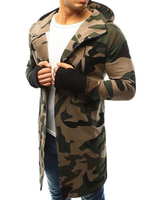 Print Mid-Length Camouflage Zipper Slim Coat