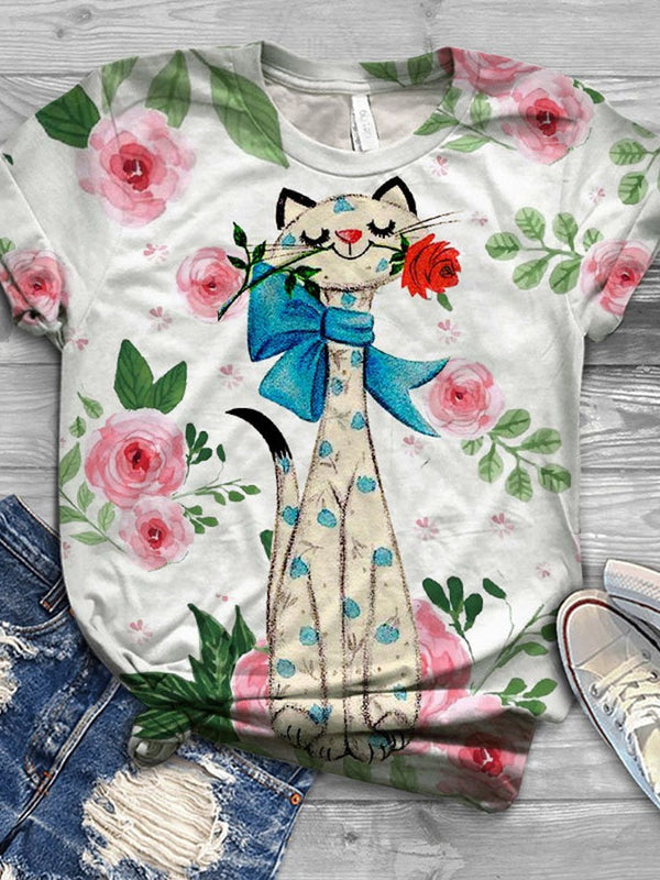 Round Neck Cartoon Mid-Length Casual Loose T-Shirt