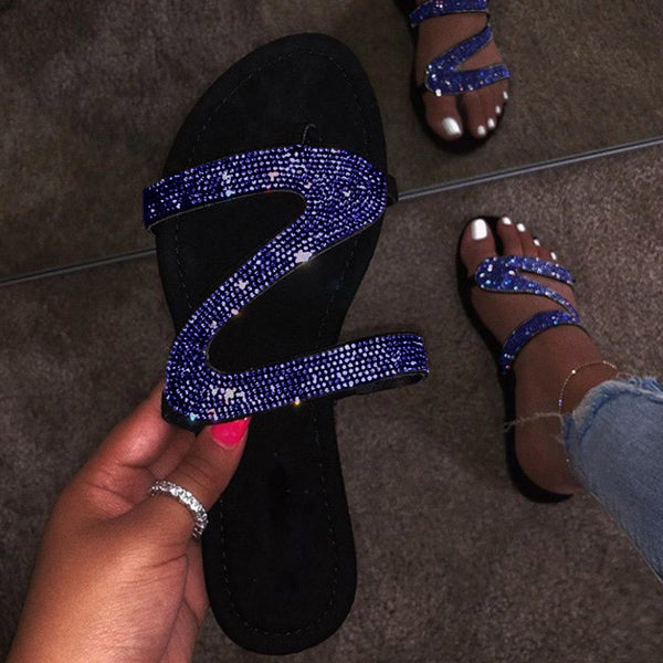 Open Toe Slip-On Flat With Rhinestone Sandals
