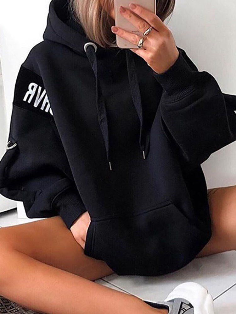 Letter Regular Print Standard Hooded Hoodie