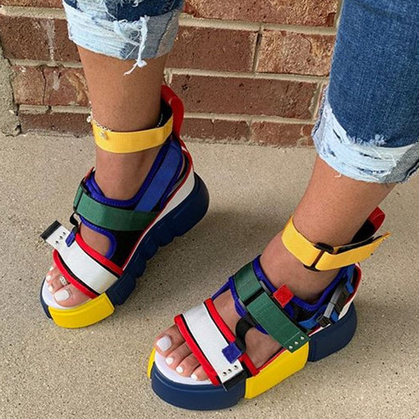 Platform Velcro Open Toe Color Block Platform Sandals