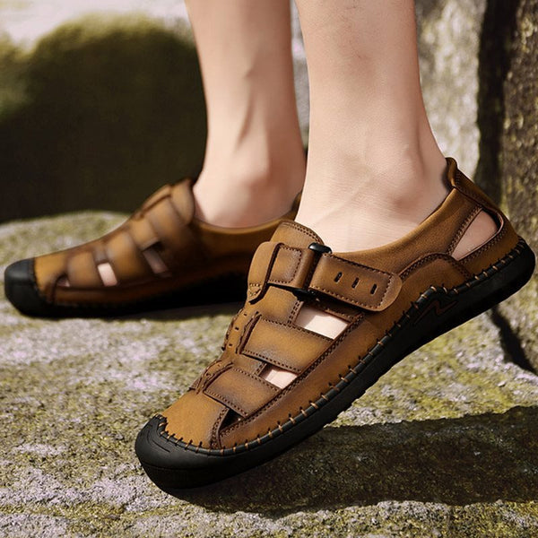Plain Slip-On Low-Cut Upper Flat Heel Hollow Closed Toe Sandals