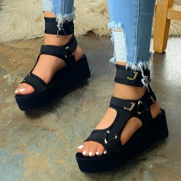 Strappy Buckle Open Toe Platform Platform Sandals