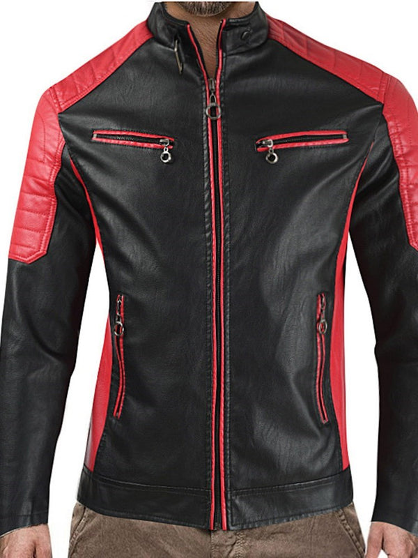 Standard Stand Collar Color Block Spring Casual Leather Jacket