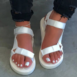Ankle Strap Open Toe Velcro Flat With Plain Sandals