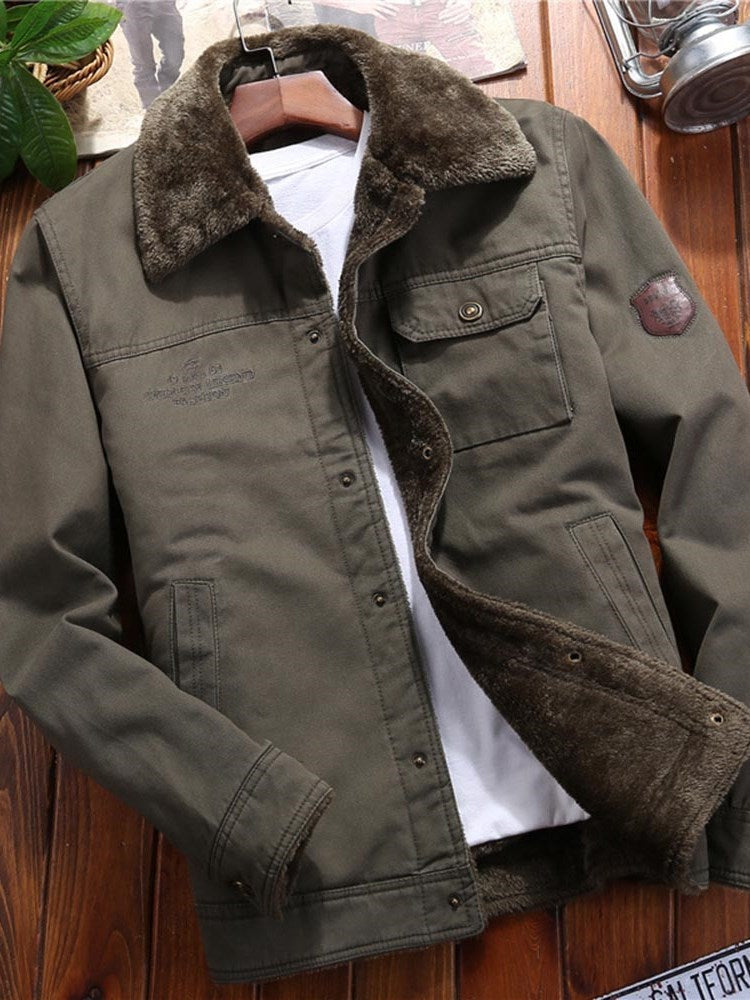 Appliques Fleece Lapel Casual Slim Jacket