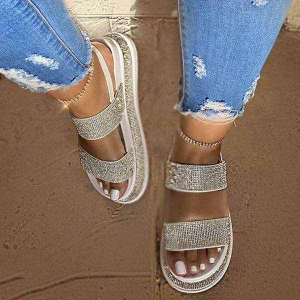 Open Toe Platform Slip-On Strappy Rhinestone Sandals