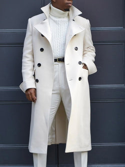 Plain Long Lapel Double-Breasted Straight Coat