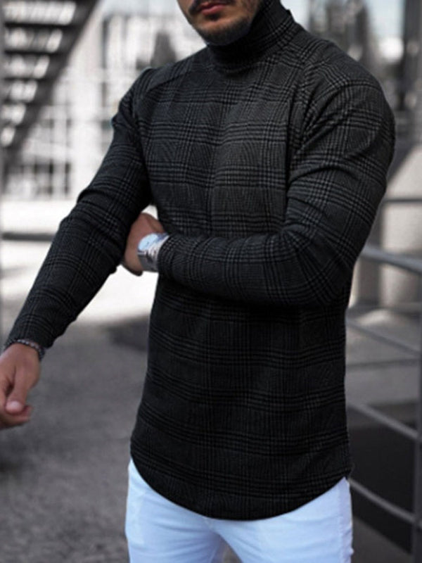 Plaid Turtleneck Casual Long Sleeve Slim T-shirt