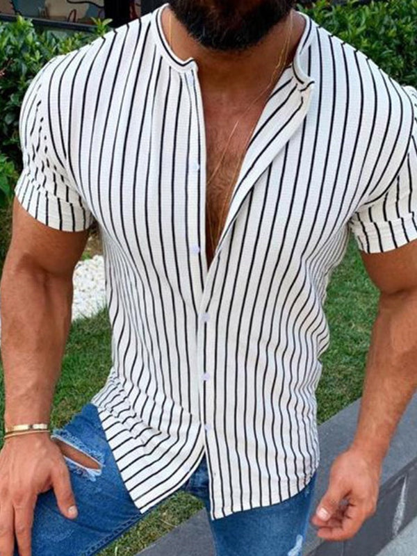 Stripe European Print Slim Summer Shirt