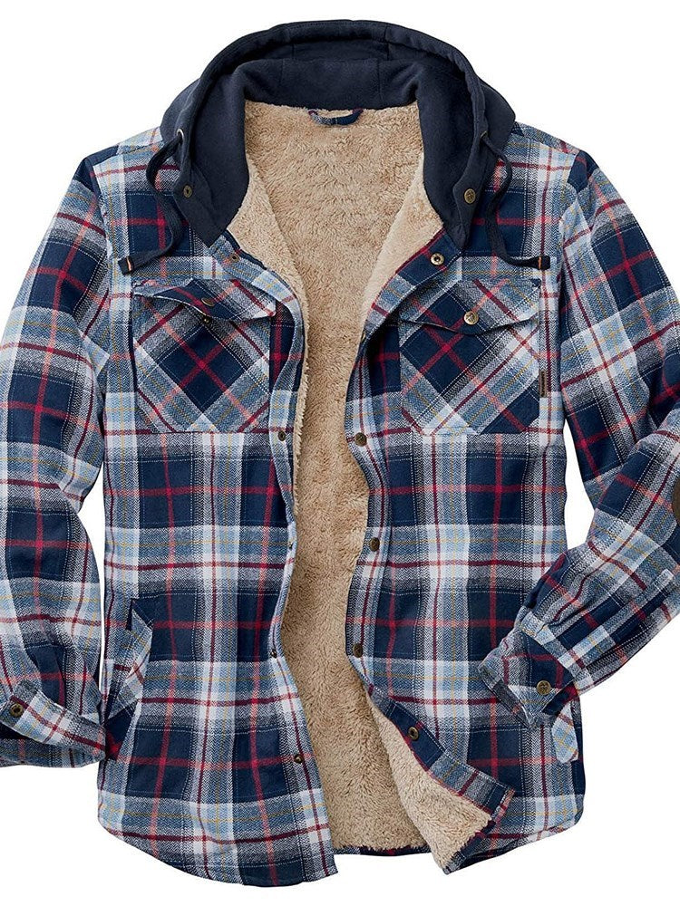 Button Plaid Lapel Single-Breasted Winter Jacket