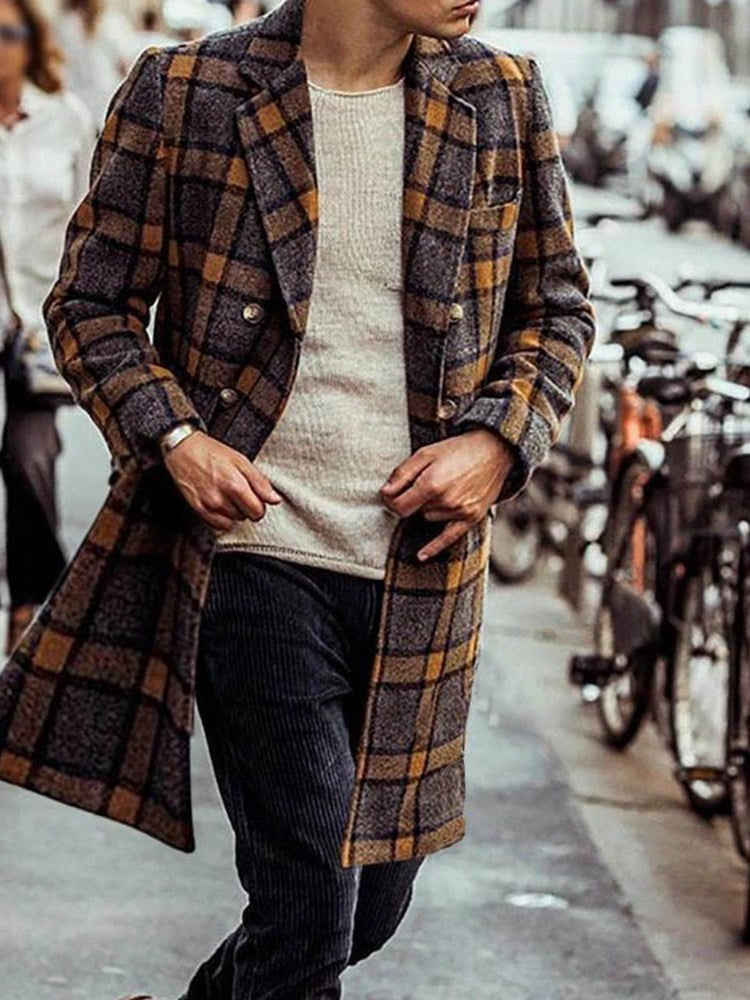Mid-Length Notched Lapel Plaid Slim European Coat