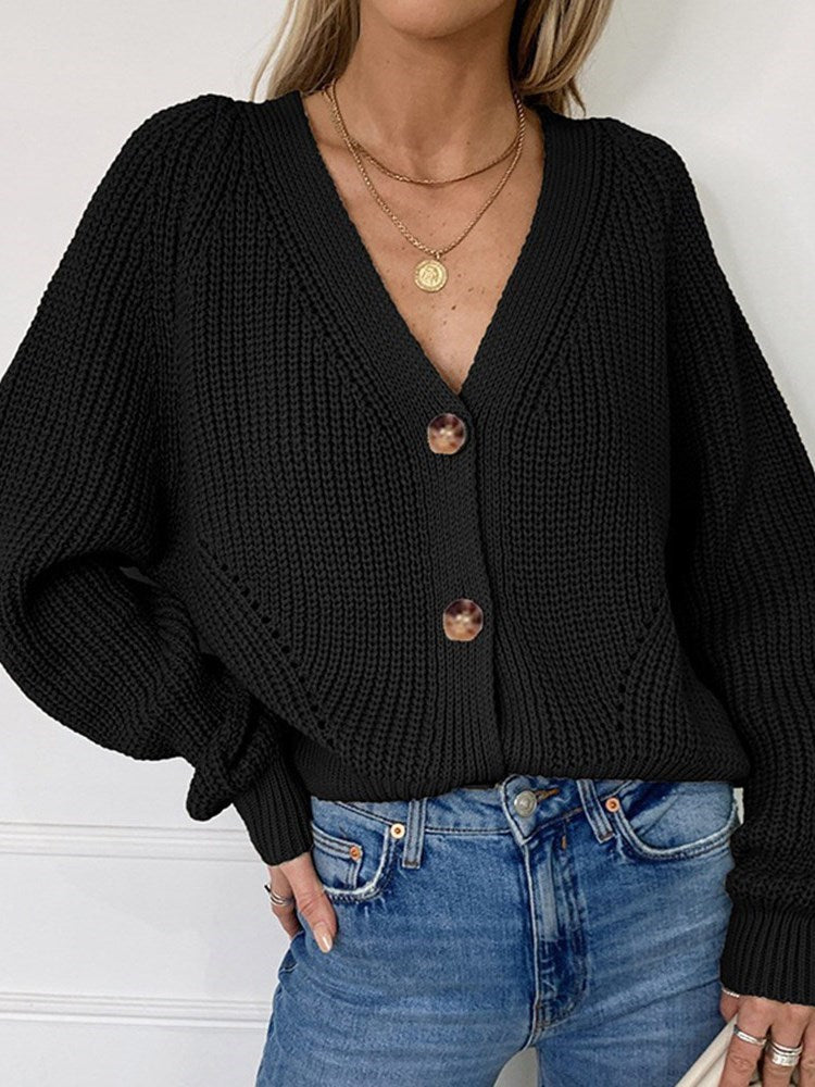 Regular Button Single-Breasted Standard Loose Sweater
